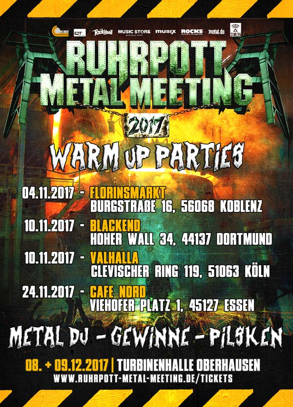 Ruhrpott Metal Meeting 2017: Warm Up Parties in Dortmund, Koblenz, Essen, Köln