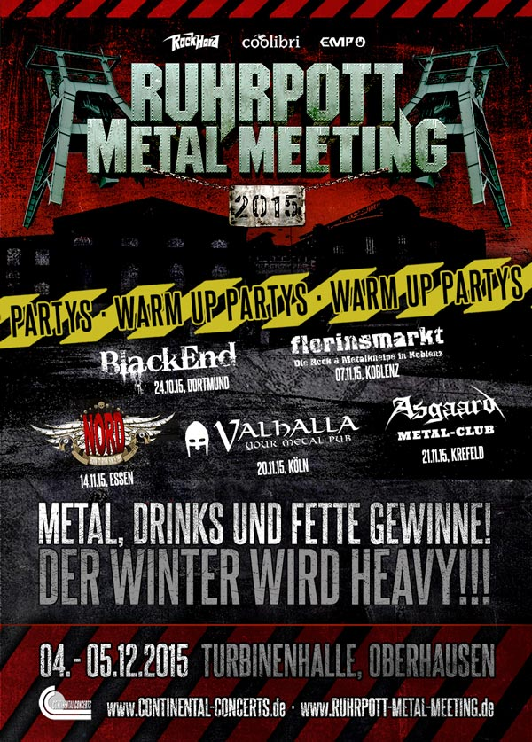 Ruhrpott Metal Meeting 2015: Warm Up Parties in Dortmund, Koblenz, Essen, Köln, Krefeld