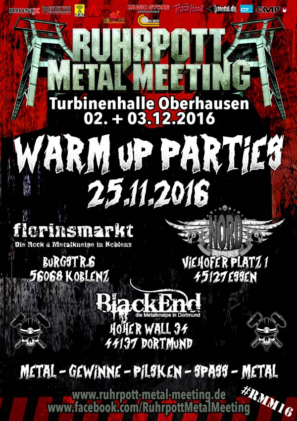 Ruhrpott Metal Meeting 2016: Warm Up Parties in Dortmund, Koblenz, Essen